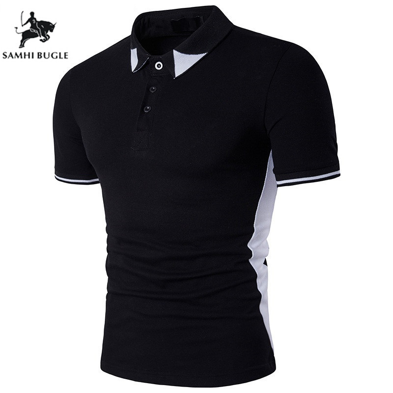 2018 New Fashion Trend Style Black and White Patchwork   Polo   Shirt Men Lapel Short-sleeved   Polo   Homme de Marque Haute Qualite