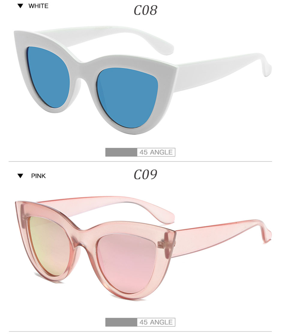 Black Classic Cat Eye Women Sunglasses Designer Brand Trend Style Glasses Adult Eyeglasses 10