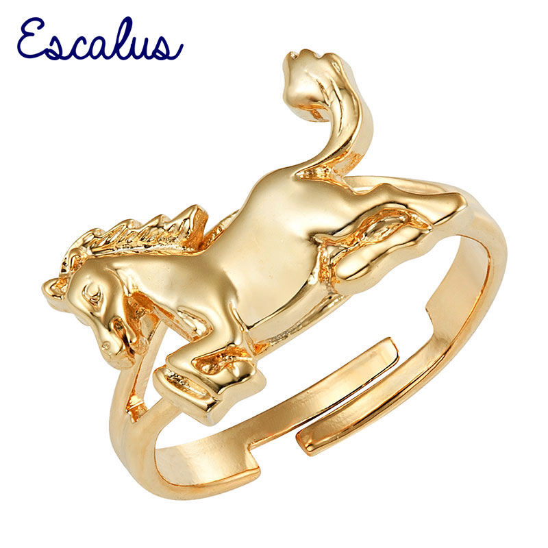Escalus Wedding Bands Women Gold Magnetic Ring Cute Golden Horse Size Resizable Female Magnet Ladies Jewelry Finger Wear Charm