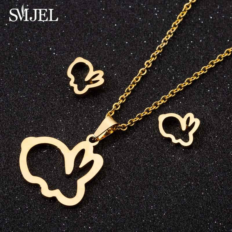 SMJEL Lovely Mouse Mickey Necklaces for Women Kids Gold Color Rabbit Moon Tiara Crown Charm Necklace Wedding Jewelry Wholesale