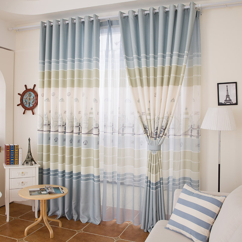 The British Mediterranean Style Modern Living Room Bedroom Curtains(China  (Mainland Part 56
