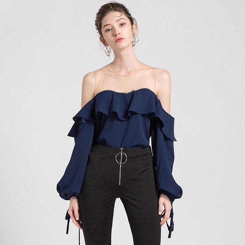 2019 Été blouse en mousseline de soie Femmes Maille Patchwork blouse à volants Chemise Blanc Lanterne Manches Solide Femmes hauts et chemisiers Sexy - 2