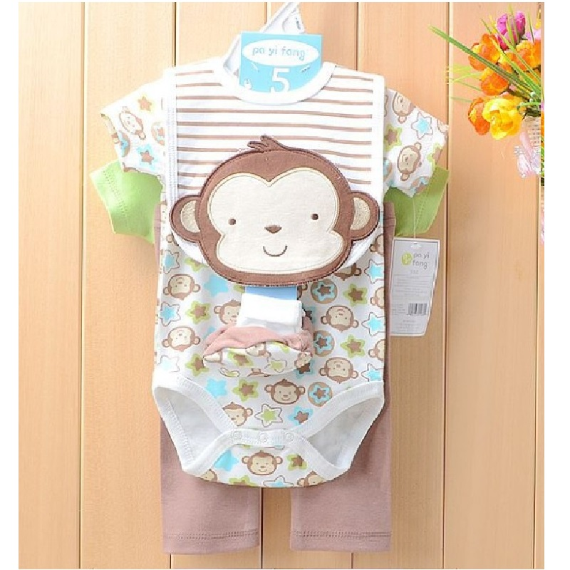 2016 Baby Boys Clothes Suits Monkey Bodysuit+pant+sock+bib sets Bebe Jumpsuits infant clothing newborn bodysuits