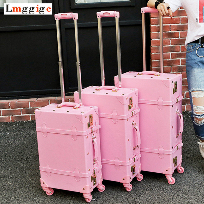 Vintage Travel Rolling Luggage Suitcase Bag ,PU Leather Box with Cosmetic bag ,Women Carrier,high qualit Carry-On Trolley Case аппарат для сварки пластиковых труб yato yt 82250