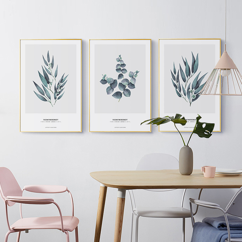 Elegant Poetry Nordic Simple Leaf Decoration Painting Canvas Art Print Poster Wall Picture Home