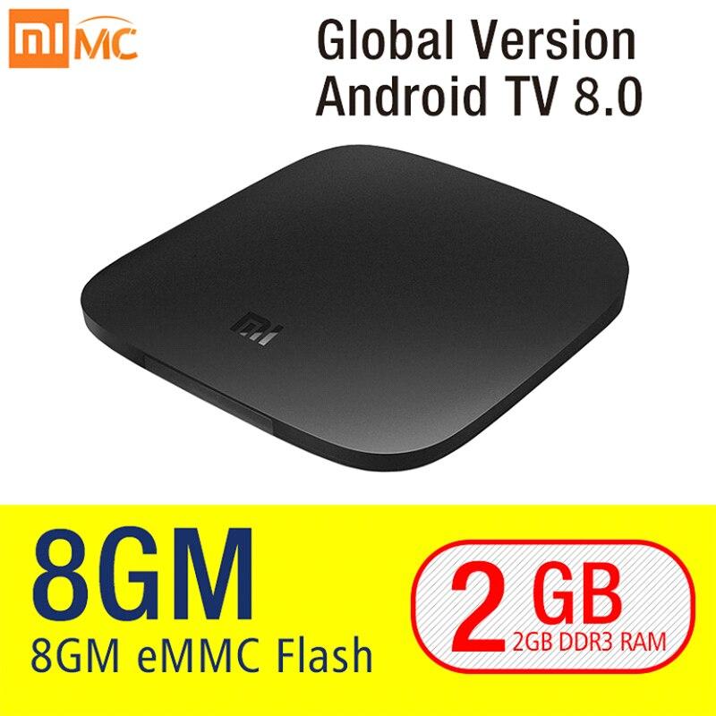 Original Xiao mi mi TV Box 3 Smart 4K Ultra HD 2G 8G Android 8.0 Film WiFi Google cast Netflix Red Bull Media Player Set-top Box