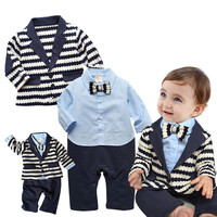 2 PCS Gentleman Baby Sets Baby Boys Clothes Black White Stripe Coat Blue Rompers Clothing Set
