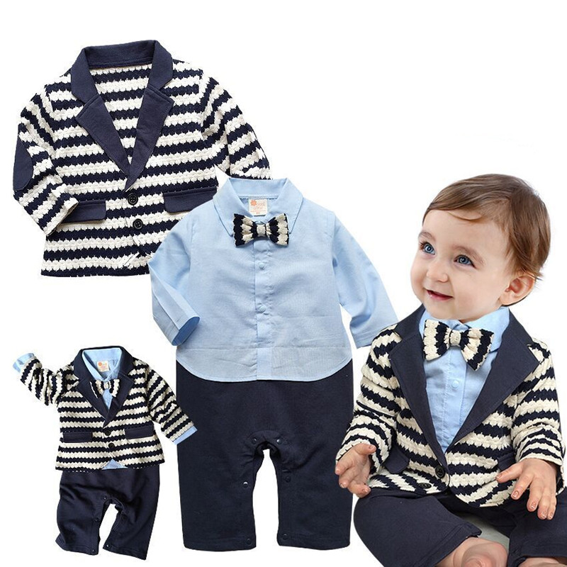 2 PCS Baby Sets Baby Boy Clothes Gentleman Black White Stripe Coat+Blue Rompers Clothing Set Newborn Wedding Suit V40
