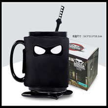 Freies Verschiffen Stille Assassins Keramik Ninja Schwarze Maske Kaffee Flasche mit einem Schwert Löffel & Shuriken Untersetzer Geburtstagsgeschenk Flaschen