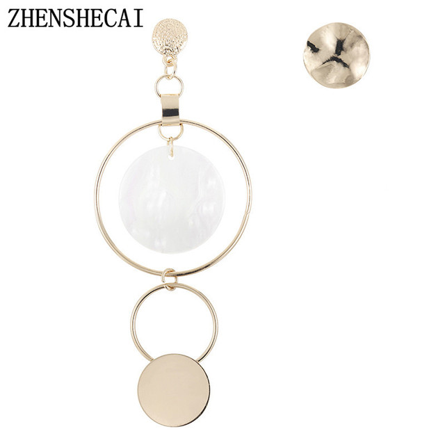 Fashion Round Long Earring For Women jewelry personality asymmetry Pendant drop