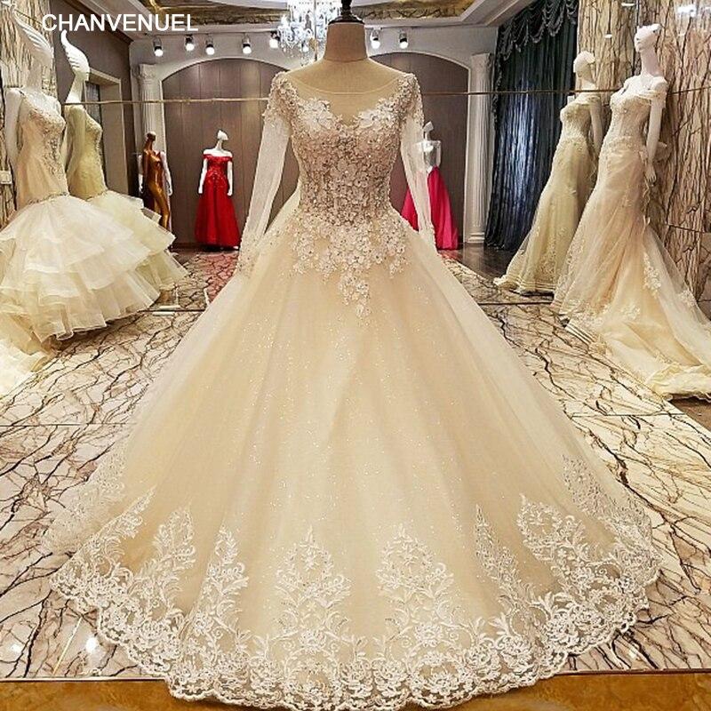 LS09427 robe de mariage 2017 pizzo su indietro di lunghezza del pavimento dell'abito di sfera del merletto abiti da sposa organza foto reali