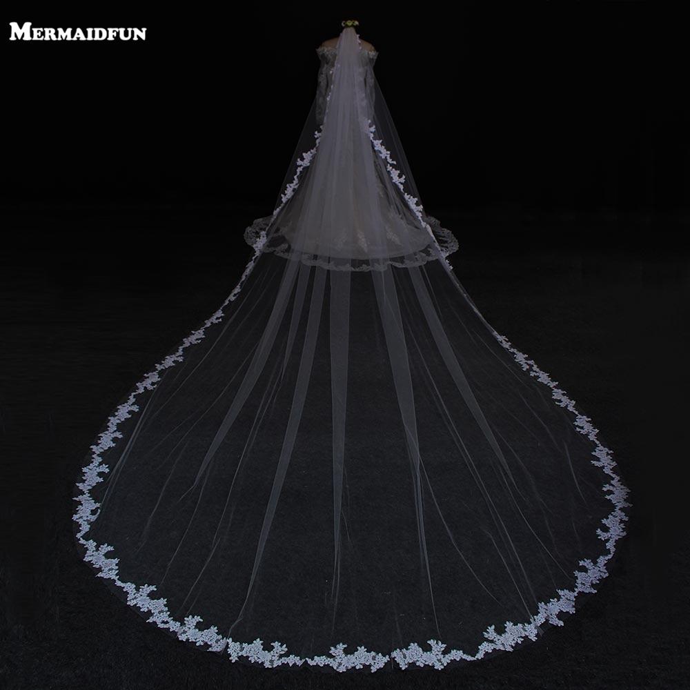 2018 Bianco Avorio/bianco Tulle 5 M Lungo Uno Strato Applique Bordo Velo Da Sposa New Fashion Wedding Accessories Hot Veli Da Sposa Buon Sapore