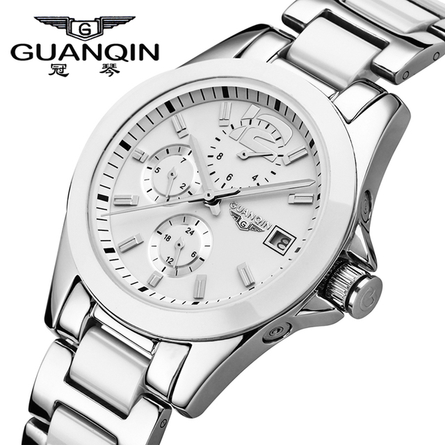 GUANQIN ผู้หญิงนาฬิกา Hardlex นาฬิกาแบรนด์หรูนาฬิกาเซรามิคผู้หญิงนาฬิกากันน้ำชุดนาฬิกาผู้หญิง 2019