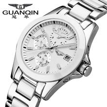 GUANQIN montre mécanique pour femmes, Hardlex, marque de luxe, en céramique, horloge étanche, robe pour filles, 2019