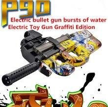 Divertidos Juguetes Al Aire Libre P90 Snipe Graffiti Edición En Vivo CS Asalto rifle Pistola de Juguete Eléctrico Bala Arma de Agua Blanda Ráfagas GunFor Kid