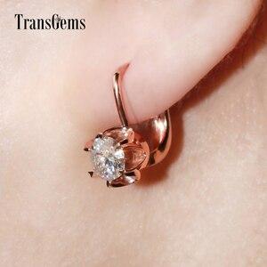 Image 5 - TransGems 14K 585 różowe złoto 1CTW 5MM F jasny kolor Moissanite kolczyki w kształcie kółek z diamentami dla kobiet ślubny kwiat w kształcie kolczyki w kształcie obręczy