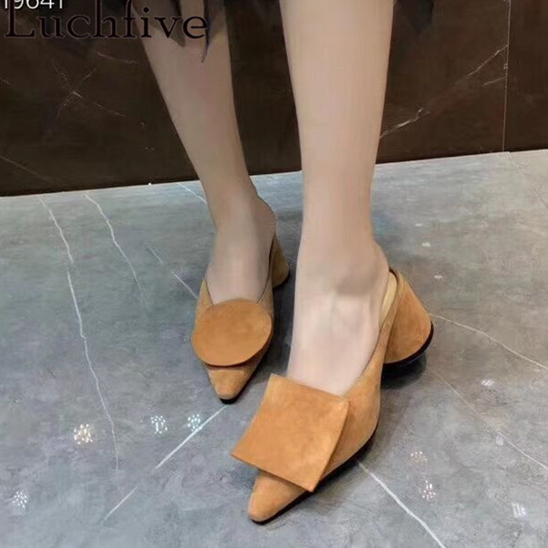 Black Yellow Suede Leather Asymmetrical Decor Pointed Toe Lady Dress Mules Ankle Strappy Shoes Women Outdoor SlidesBlack Yellow Suede Leather Asymmetrical Decor Pointed Toe Lady Dress Mules Ankle Strappy Shoes Women Outdoor Slides