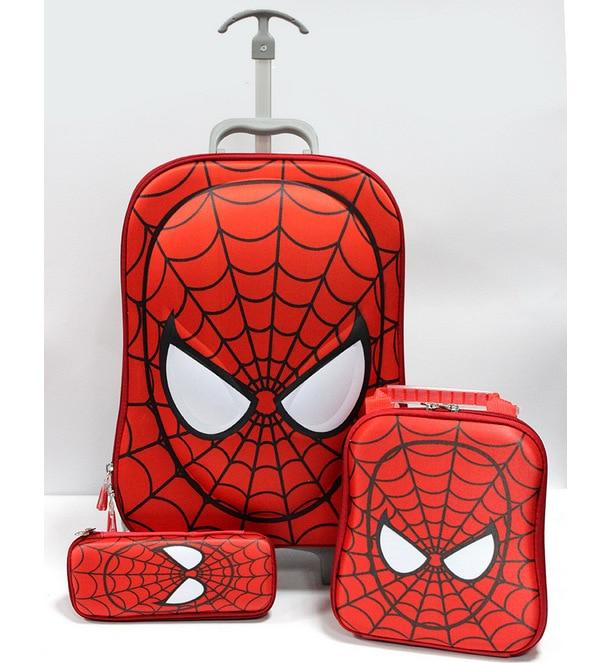 3 PCS Spiderman luggage Trolley Suitcase Set Kids Cartoon Spider Man Luggage with Wheels Children School
