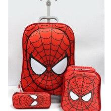3 шт., набор чемоданов на колесиках с рисунком Человека-паука, багаж с колесами, детские школьные сумки, Детская сумка