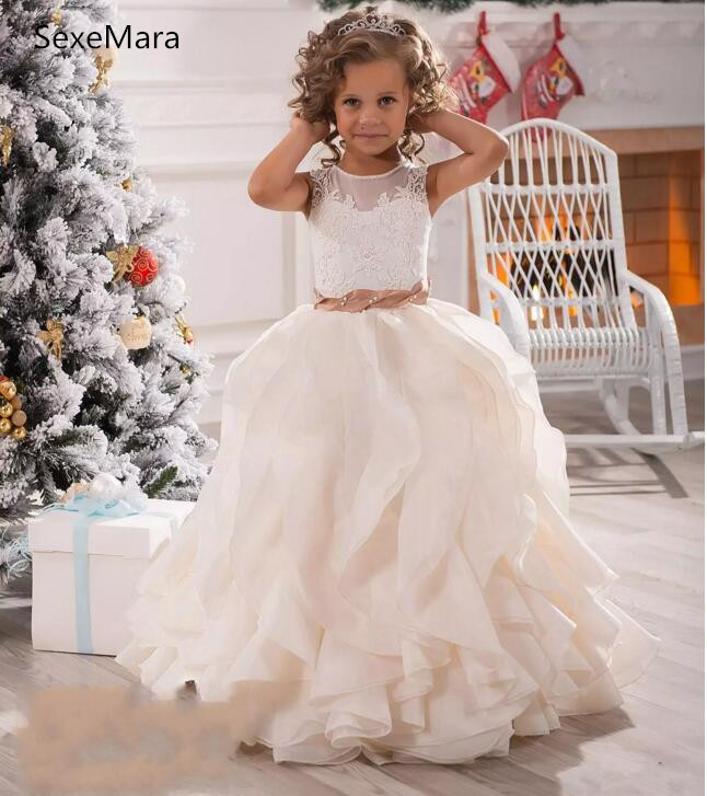 2018 White Ivory Flower Girls Dresses For Weddings Illusion Neck Lace Sashes Ruffles Communion Princess Children Kids Party Gown