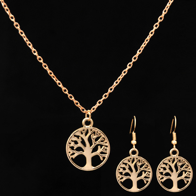 Newly Limited Gold-color Jewelry Tree Life Beautiful Pendant Necklace Earrings Sets for Women Girls Wife Friend Gift Drop Ship