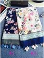 Зимы женщин шарфы 2015, Цветок печать шарф, Богемия стиль, Мусульманин хиджаб, Кисточкой шарф, Мыс, Шали и шарфы, Desigual испания, Обернуть