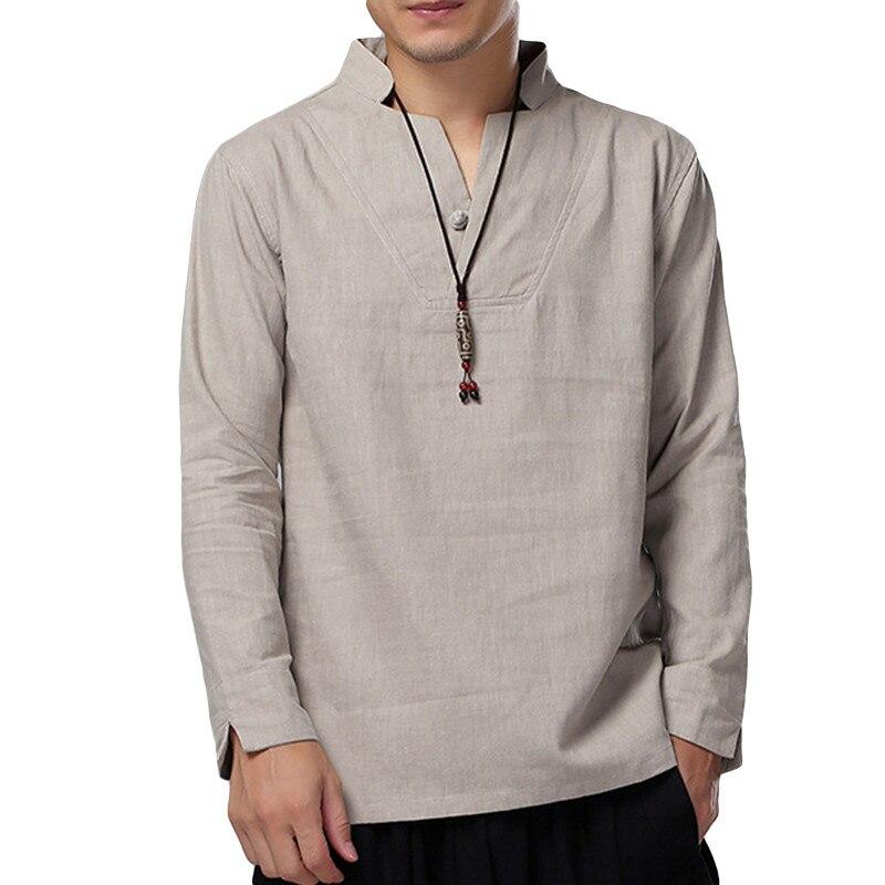 2018 Vintage camisas para Hombre vestido de algodón otoño camisetas de manga larga botón v-cuello camisa blanca Tops Hombre 3XL hombres ropa