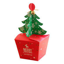 apple box Creative food packaging box snowflakes Cardboard Red & Green Christmas Tree Bell Boxes Xmas Favor(China)