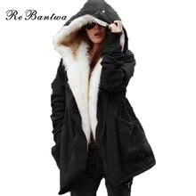 Rebantwa Winter Jacket Women Faux Fur Collar Womens Coats Long Down Parka Plus Size Lady Hoodies Parkas Warmer Classical Jackets