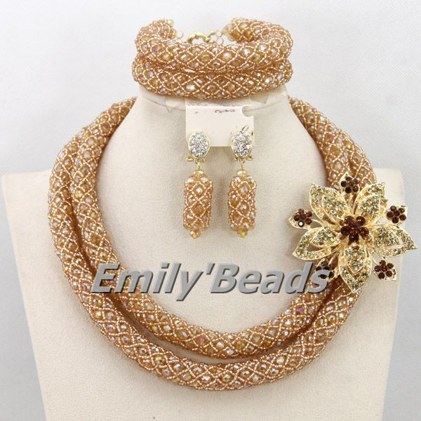 2016 Handmade Nigerian Wedding African Beads Jewelry Set Gold Plated Crystal Beads Necklace Jewelry Set Free