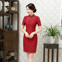 New Arrival Fashion Short Women Cheongsam Dress Chinese Ladies Embroidery Qipao Novelty Sexy Dress Size M