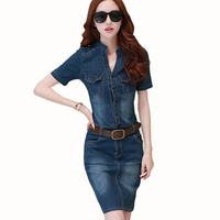 2016 Summer Vintage Women Office Denim Dress Slim Sexy Plus Size Casual Bodycon Jeans Women Dress