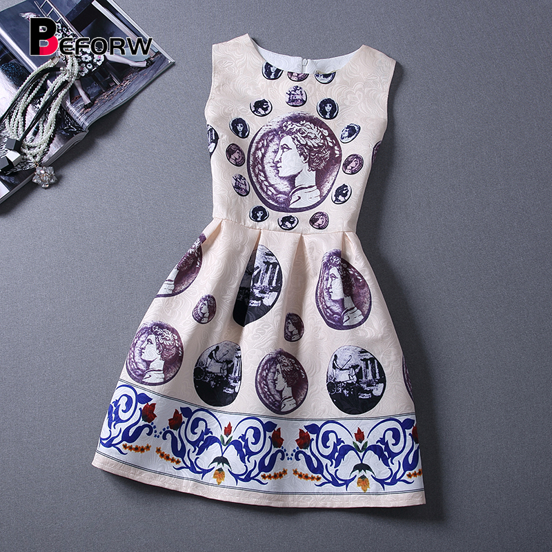 BEFORW Vintage Women Dress Spring Summer Fesyen Pakaian Cetak Tanpa Lengan Sexy Mini Dress Vestidos de festa Women Clothing