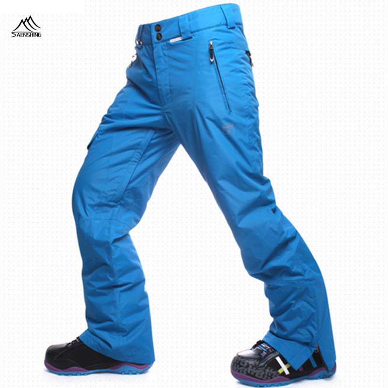 SAENSHING Ski Pants Men Waterproof Thicken Snowboard Pants for Mountain Skiing Trousers Super Warm Breathable Snow Trousers Male