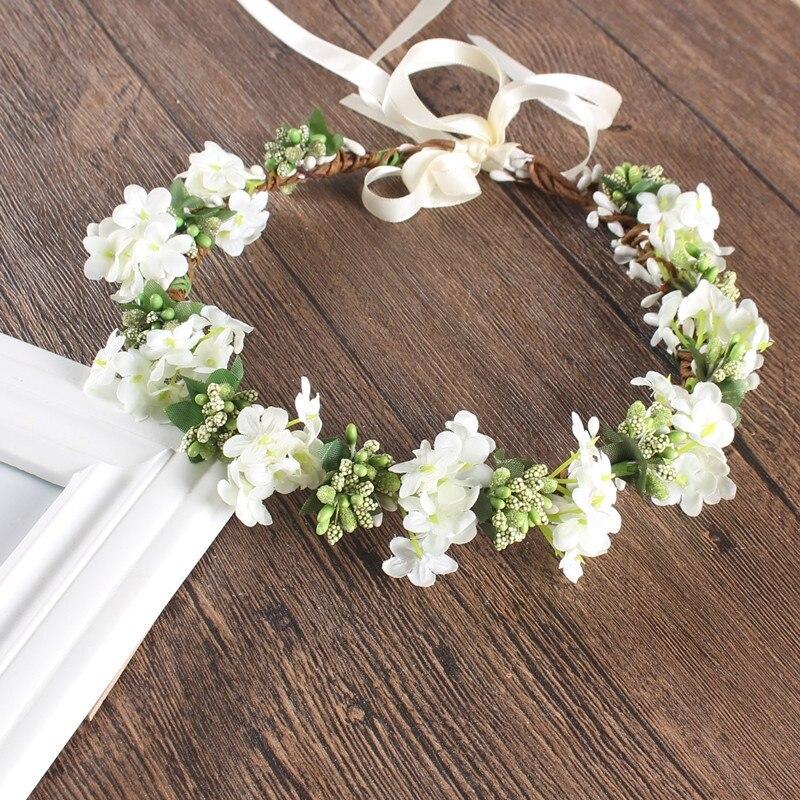 Adult Kids Artificial Flower Garland Wreath Headdress Band Hair Hoop Headband Bride Princess Crown Birthday Wedding Decoration &