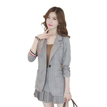 New Spring Autumn Fashion High Quality Elegant  Stitching Women Suits Work Wear Business Casual Suit + Skirt 2 Piece Sets female