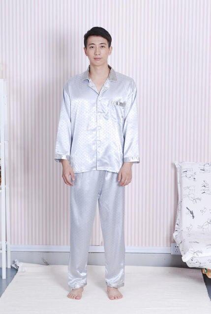 Серый мужская Пижама Пижамы Пижамы шелковой атласной размер M, L, XL, XXL YF1324