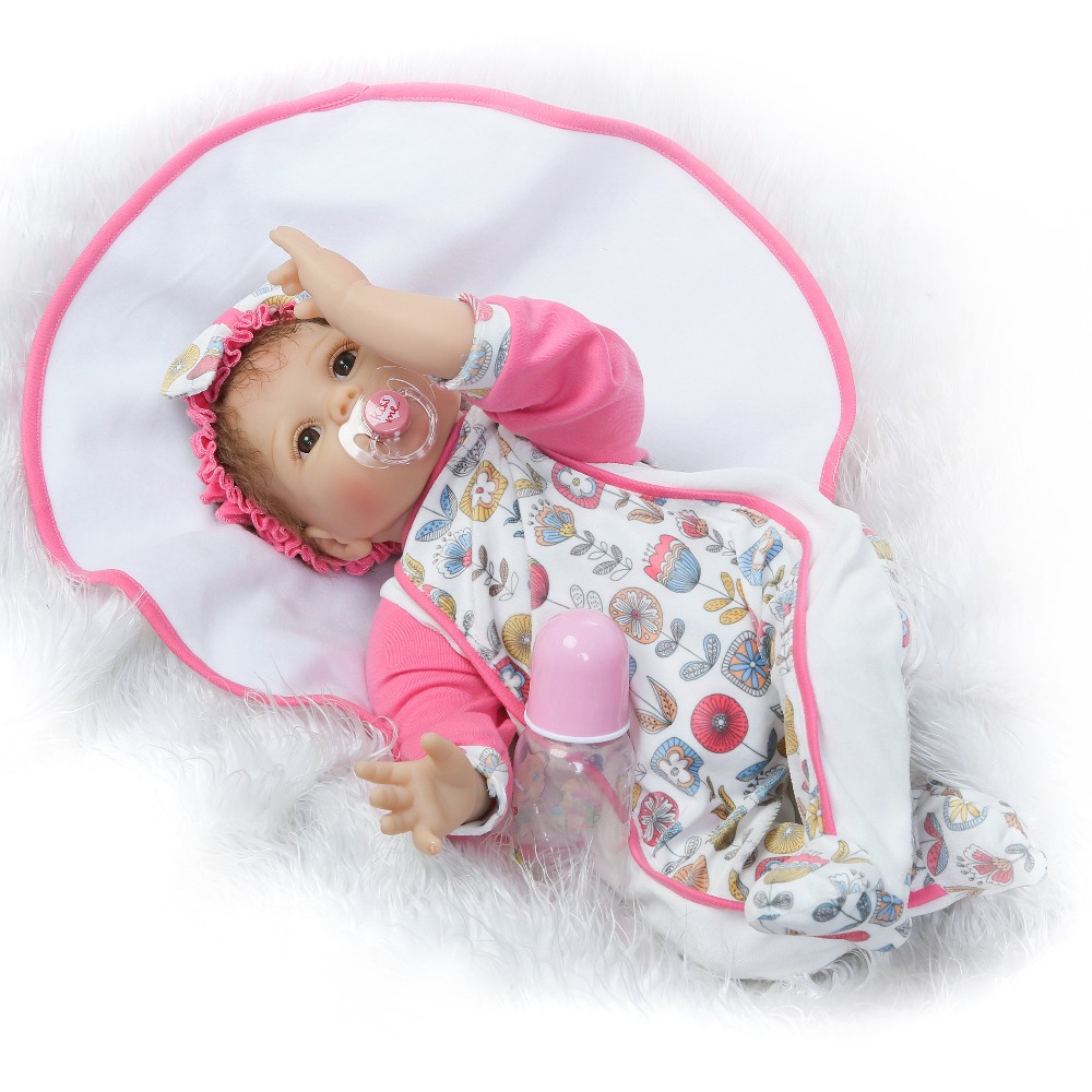 NPKCOLLECTION reborn doll with soft real gentle  touch hot sale 22inch silicone vinyl lifelike newborn baby sweet baby gift 2017 new design reborn sweet baby doll soft real gentle vinyl silicone touch body and wig hair