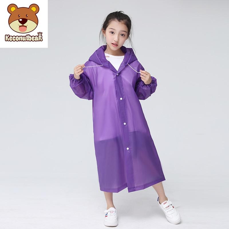 Keconutbear Fashion EVA Children Raincoat Thickened Waterproof Rain Coat Kids Clear Transparent Tour Waterproof Rainwear Suit