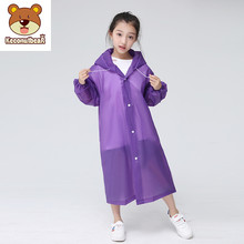 Keconutbear Fashion EVA Children Raincoat Thickened Waterproof Rain Coat Kids Clear Transparent Tour Waterproof Rainwear Suit(China)