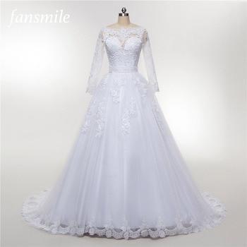 Fansmile Tulle Mariage Vestido De Noiva Lace Train Wedding Dress 2020 Customized Plus Size Wedding Gowns Bridal Dress FSM-470T