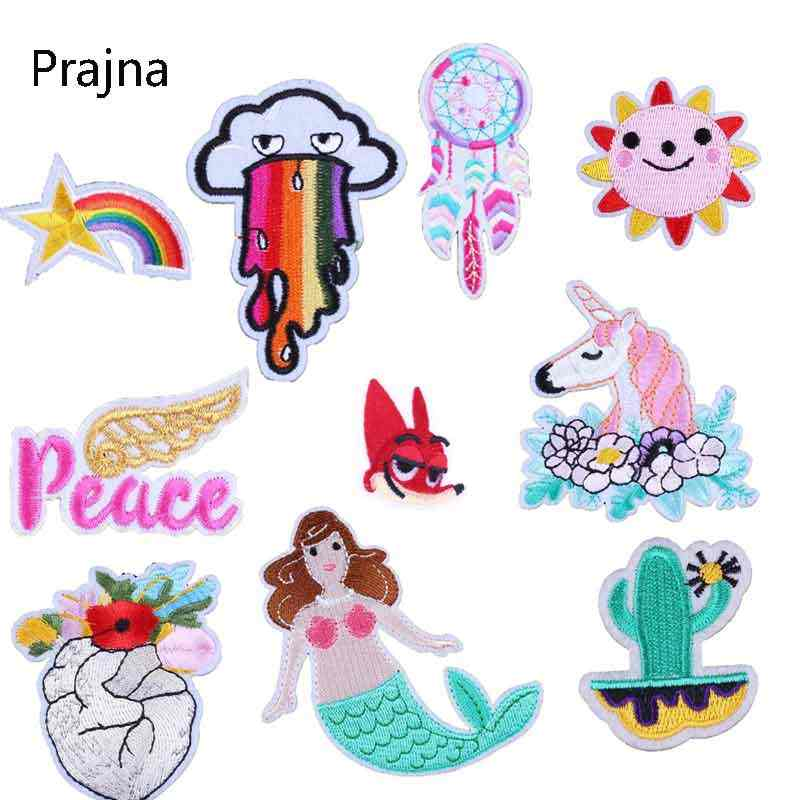 Prajna Rainbow Flower Cloud Patch Heart Cheap Embroidery Unicorn Patch Kids Patchwork Fabric Cute Badges Hippie Iron On Stripe D