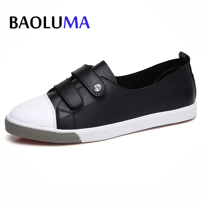 Baoluma Autumn Women Genuine Leather Flats Ladies Slip On Ballerina Loafers Casual Boat Shoes Black White Oxfords Shoes Mujer odetina 2017 new women pointed metal toe loafers women ballerina flats black ladies slip on flats plus size spring casual shoes