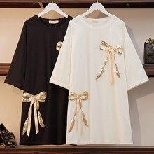 XL-6XL 2019 Women Summer Dress Plus size Casual Loose Shirt Sequined Patchwork Ladies White Black Large Size 5XL Vestidos