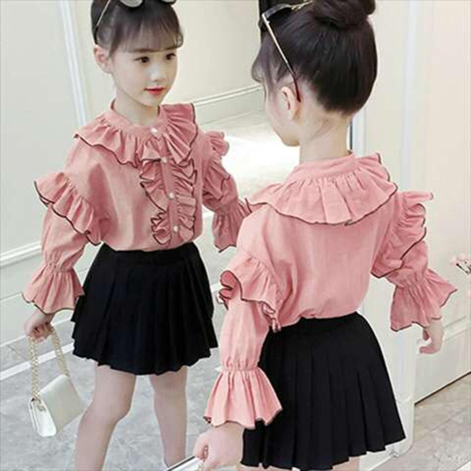 venda quente 2019 criancas meninas roupas definir bebe menina verao manga longa camisa vestido 2 pcs