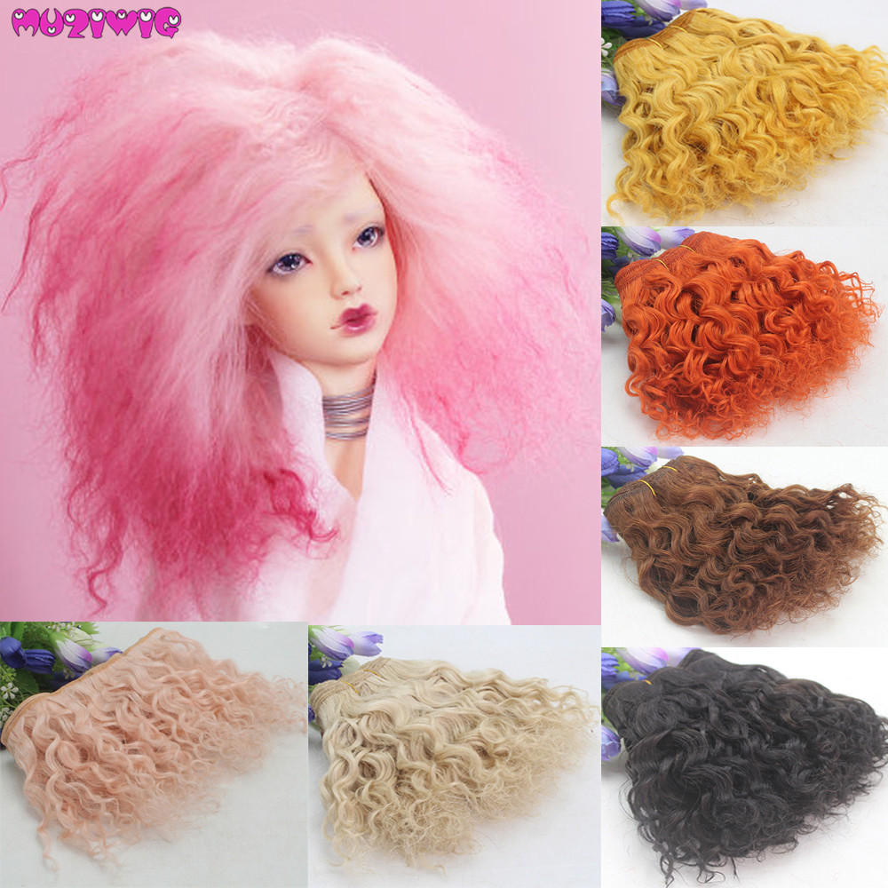 Wool Wefts Black Brown Orange Pink Curly Wool Hair Wefts For Dolls Hair Accessories Russian DIY Doll Wigs