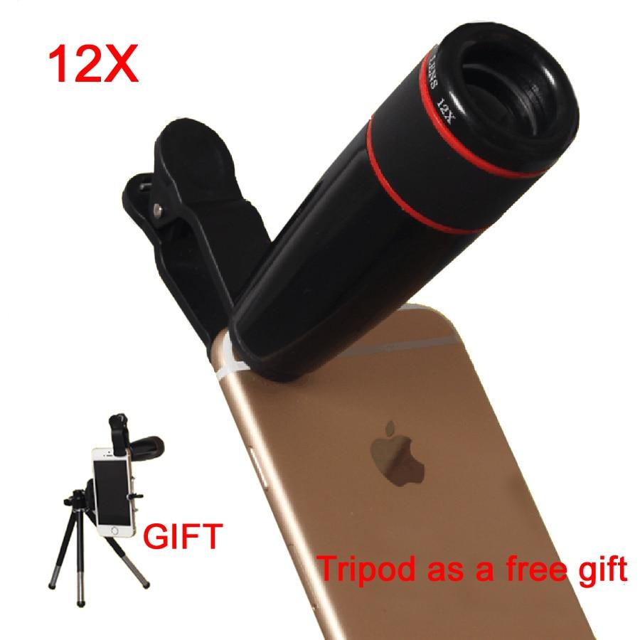 bilder für 12X Tele-objektiv Zoom Teleskop Handy-kamera-objektiv Optische linsen mit Universal-Clip Für iPhone 5 s 6 s 7 Plus Samsung LG