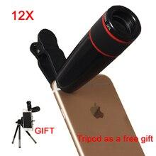 Телеобъектив 12X Зум Телескоп Мобильного Телефона Объектива Камеры Оптических линз с Универсальным Зажимом Для iPhone 5S 6 s 7 Plus Samsung LG