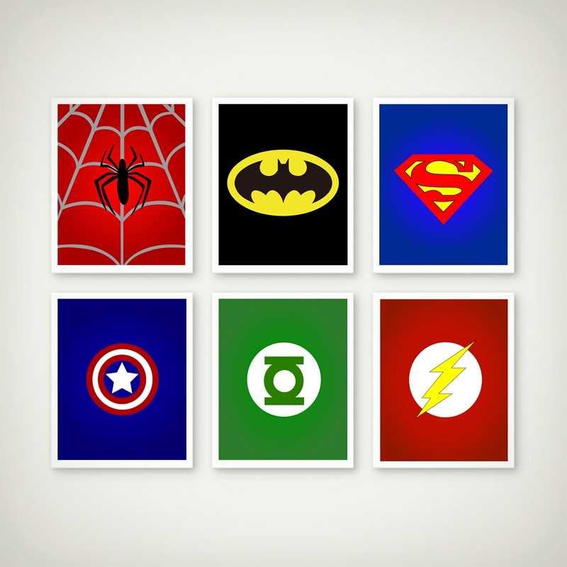 Batman Superman Boy Hero Kanvas Poster Lukisan Kartun Super Hero Ialah Cetakan Logo Gambar Dinding Kamar Anak Dekorasi