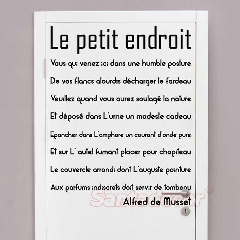 Sticker Citation Porte De Toilette Le Petit Endroit Vinyl